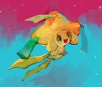 :d floating full_body gen_3_pokemon glitchedpuppet green_eyes happi japanese_clothes jirachi looking_away night night_sky no_humans open_mouth pokemon pokemon_(creature) sky smile solo star_(sky) yellow_skin
