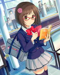 1girl artist_request bag black_legwear book brown_hair glasses green_eyes hair_ornament idolmaster idolmaster_cinderella_girls maekawa_miku official_art red-framed_eyewear school_bag school_uniform short_hair skirt solo_focus tactile_paving thighhighs train_station