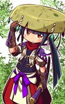 1girl arm_up bangs black_hair blush brown_eyes brown_gloves brown_headwear closed_mouth commentary_request copyright_request crystal elbow_gloves fushigi_no_dungeon fuurai_(sekaiju) gloves hand_on_headwear hat holding holding_sheath jacket katana leaf long_hair looking_at_viewer naga_u pants puffy_pants red_pants sekaiju_to_fushigi_no_dungeon sheath sheathed short_sleeves sidelocks solo sword very_long_hair weapon white_background white_jacket