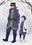 1boy 1girl ainu ainu_clothes asirpa bandana black_hair blue_eyes blush boots cape closed_eyes coat earrings facial_scar fingerless_gloves full_body fur_boots fur_cape gloves golden_kamuy hand_in_pocket hat height_difference holding_hands hoop_earrings jewelry leg_warmers makuri_hk peaked_cap scar scarf snow snowing sugimoto_saichi tree winter