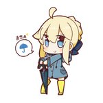 1girl ahoge artoria_pendragon_(all) blonde_hair blue_eyes boots chibi fate/stay_night fate_(series) full_body highres looking_at_viewer nuu_(nu-nyu) raincoat rubber_boots saber smile solo spoken_object standing translation_request umbrella