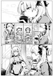 2girls altera_(fate) altera_the_santa bag bow coffee_cup comic commentary_request convenience_store cup disposable_cup duffel_coat ereshkigal_(fate/grand_order) fate/grand_order fate_(series) greyscale hair_ribbon long_hair looking_at_another monochrome multiple_girls navel plastic_bag profile ribbon shop silent_comic syatey two_side_up veil very_long_hair