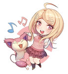 1girl :3 :d ahoge akamatsu_kaede backpack bag bangs beamed_quavers black_legwear blonde_hair blush chibi closed_eyes crossover danganronpa eyebrows_visible_through_hair gen_3_pokemon kneehighs long_hair long_sleeves looking_at_viewer miniskirt musical_note musical_note_hair_ornament musical_note_print necktie new_danganronpa_v3 open_mouth orange_neckwear outstretched_arms pleated_skirt pokemon pokemon_(creature) print_skirt purple_eyes purple_skirt quaver round_teeth shiny shiny_hair shirt skirt skitty smile sweater_vest swept_bangs teeth white_shirt zuizi