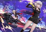 2girls ahoge artoria_pendragon_(all) bad_id bad_pixiv_id black_dress black_footwear black_ribbon black_shorts blonde_hair board_game boots breasts city_lights cityscape coat commentary_request dress eyebrows_visible_through_hair fate/grand_order fate_(series) full-length_zipper fur-trimmed_coat fur_trim go ground_vehicle high_heel_boots high_heels highway jeanne_d'arc_(alter)_(fate) jeanne_d'arc_(fate)_(all) jewelry knee_boots large_breasts motor_vehicle motorcycle multiple_girls necklace night night_sky ribbon saber_alter short_dress shorts silver_hair sky skyline sword ten-chan_(eternal_s) weapon wicked_dragon_witch_ver._shinjuku_1999 yellow_eyes zipper