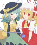 2girls aoi_(annbi) aqua_hair ascot black_hat blonde_hair bow collar flandre_scarlet frilled_collar frilled_sleeves frills hat hat_bow heart highres komeiji_koishi mob_cap multiple_girls one_eye_closed one_side_up open_mouth red_eyes short_sleeves simple_background third_eye touhou vest white_background white_hat wide_sleeves wings yellow_bow yellow_neckwear