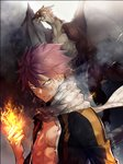 1boy bruise_on_face clenched_hand dragon fairy_tail fire glowing glowing_eyes hair_between_eyes highres igneel long_sleeves natsu_dragneel pink_hair scarf shirt solo spiked_hair torn_clothes torn_shirt twitter_username upper_body v-shaped_eyebrows white_scarf yae_chitokiya yellow_eyes