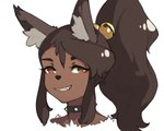 1girl animal_ears bell brown_eyes brown_hair collar eyeshadow fang furry grin hair_bell hair_ornament jingle_bell looking_at_viewer makeup original parted_lips ponytail portrait simple_background sleeveless smile solo spiked_collar spikes vins-mousseux white_background