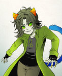 1girl black_hair claws coat fangs fingerless_gloves gloves green_eyes grey_skin homestuck horns jin-nyeh leo nepeta_leijon oversized_clothes sharp_teeth short_hair slit_pupils smile solo tail teeth troll_(homestuck) yellow_sclera