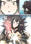 !! 1girl black_hair breasts cleavage comic fate/apocrypha fate/grand_order fate_(series) frills fur_collar fur_trim ginhaha large_breasts long_hair open_mouth pointy_ears semiramis_(fate) silent_comic slit_pupils solo sparkle summon_ticket summoning surprised very_long_hair yellow_eyes