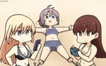 3girls alternate_costume aoba_(kantai_collection) bare_arms bare_legs bare_shoulders bikini bismarck_(kantai_collection) blonde_hair blue_eyes bound breasts brown_eyes brown_hair camera cellphone cleavage commentary dated from_above from_side hamu_koutarou highres kantai_collection large_breasts long_hair looking_down lying medium_breasts messy_hair midriff multiple_girls navel on_back ooi_(kantai_collection) open_mouth outdoors phone ponytail purple_hair sand scrunchie shaded_face signature smartphone sweat sweating_profusely swimsuit tied_up x_navel