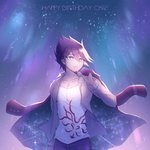 1boy beard collarbone commentary_request danganronpa dated eyebrows_visible_through_hair facial_hair goatee hair_between_eyes happy_birthday holding holding_jacket jacket looking_to_the_side male_focus medium_hair momota_kaito new_danganronpa_v3 pants purple_eyes purple_hair shirt smile spiked_hair tokilos upper_body white_shirt