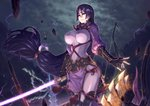 1girl absurdres armor axe bangs black_gloves bodysuit bow_(weapon) breasts covered_navel fate/grand_order fate_(series) fingerless_gloves gloves glowing glowing_sword glowing_weapon highres holding holding_sword holding_weapon japanese_armor kote large_breasts long_hair low-tied_long_hair minamoto_no_raikou_(fate/grand_order) parted_bangs purple_bodysuit purple_eyes purple_hair ribbed_sleeves rope solo standing suneate sword tabard very_long_hair weapon yasu_(segawahiroyasu)
