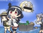 0_0 4girls bangs bar_censor black_hair blonde_hair blouse blue_sky blunt_bangs blush braid cellphone censored cloud commentary_request crate crossover dated day detached_sleeves dress drum_(container) fate/apocrypha fate/grand_order fate_(series) floral_print flying_sweatdrops hachimaki hair_ornament hair_ribbon hamu_koutarou hat headband headpiece identity_censor jeanne_d'arc_(fate) jeanne_d'arc_(fate)_(all) kantai_collection kitakami_(kantai_collection) kneehighs multiple_girls neckerchief nontraditional_miko ocean ooshio_(kantai_collection) open_mouth phone pleated_skirt purple_eyes purple_hair red_eyes remodel_(kantai_collection) ribbon school_uniform serafuku single_braid skirt sky sleeveless sleeveless_dress smartphone solid_oval_eyes sparkle straw_hat tearing_up twintails walking walking_on_liquid white_blouse yamashiro_(kantai_collection)