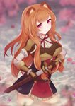 1girl aftergardens animal_ears armband blurry breastplate breasts cherry_blossoms depth_of_field expressionless eyebrows_visible_through_hair gauntlets hand_on_hilt head_tilt highres holding holding_sword holding_weapon large_breasts left-handed long_hair looking_at_viewer neck_ribbon orange_hair petals petals_on_liquid petticoat pink_eyes raccoon_ears raphtalia red_neckwear ribbon scabbard sheath shirt shoulder_armor sidelocks solo spaulders standing sword tate_no_yuusha_no_nariagari two-tone_dress unsheathing very_long_hair wading water weapon white_shirt