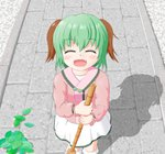 1girl ^_^ animal_ears bamboo_broom blush bobby_socks broom closed_eyes commentary_request day eyebrows_visible_through_hair facing_viewer fang feet_out_of_frame from_above green_hair hair_between_eyes highres holding holding_broom hoya_(bismuth83) kasodani_kyouko leaf long_sleeves open_mouth outdoors pink_shirt sett shadow shirt short_hair skirt smile socks solo touhou undershirt walkway white_legwear white_skirt