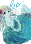 1girl :o bangs bare_shoulders beatrice blonde_hair blue_dress blush commentary_request dress eyebrows_visible_through_hair flower frilled_sleeves frills green_eyes hair_flower hair_ornament hand_up kuriyuzu_kuryuu long_hair looking_at_viewer looking_to_the_side off_shoulder parted_lips red_flower red_rose rose simple_background solo thighhighs umineko_no_naku_koro_ni very_long_hair white_background white_legwear