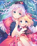 2girls :o absurdres amo artist_name black_shirt blonde_hair bloomers blue_background blue_eyes blush breasts commentary_request cowboy_shot eyebrows_visible_through_hair feet_out_of_frame floral_background flower green_eyes hair_ribbon hat head_tilt highres large_breasts leaf lily_of_the_valley long_hair looking_at_viewer medicine_melancholy multiple_girls nurse_cap open_hand outstretched_hand parted_lips puffy_short_sleeves puffy_sleeves red_ribbon red_skirt ribbon shirt short_hair short_sleeves silver_hair skirt skirt_set sparkle touhou two-tone_shirt two-tone_skirt underwear very_long_hair wrist_grab yagokoro_eirin