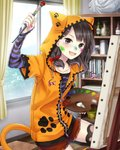 1girl :d absurdres animal_ears animal_hood arm_up bookshelf brown_eyes brown_hair canvas_(object) cat_ears cat_tail collarbone day fake_animal_ears fang hair_ribbon highres holding holding_brush hood hooded_jacket indoors jacket kishida_mel long_hair looking_at_viewer open_mouth orange_jacket paint_on_face partially_unzipped paw_print red_ribbon red_shorts ribbon school_fanfare shirt short_shorts short_sleeves shorts smile solo striped striped_shirt tail thighhighs window
