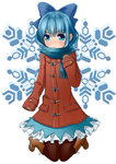 1girl 4_ii_il >:( black_ribbon blue_bow blue_eyes blue_hair blue_scarf blue_skirt blush boots bow brown_boots brown_gloves cirno coat duffel_coat eyebrows eyebrows_visible_through_hair frown full_body gloves hair_bow highres knee_boots kneeling long_sleeves looking_at_viewer pantyhose pocket red_coat ribbon scarf shoelaces simple_background skirt sleeves_past_wrists snowflake_background snowflakes solo sweat tareme thigh_gap touhou white_background