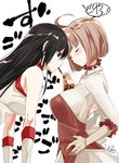 2girls ahoge akame akame_ga_kill! bare_shoulders between_breasts black_hair blush bob_cut breasts breasts_day brown_hair bubble_tea bubble_tea_challenge closed_eyes cup disposable_cup drinking_straw ears_visible_through_hair elbow_gloves food frilled_shirt_collar frills gloves hands_on_hips large_breasts long_hair looking_down multiple_girls official_art red_eyes skirt small_breasts smile sucking toru_k tsukushi_(akame_ga_kill!)