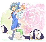 1girl azu_(azu401) bad_id bad_pixiv_id bird blue_dress blue_hair boots bow cirno dress fairy fang green_eyes ice open_mouth outstretched_arms penguin ribbon rubber_boots short_hair smile solo spread_arms touhou walking