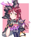 1girl black_gloves blush capelet character_request commentary_request demon earrings feathers frilled_shirt_collar frills gloves hair_feathers hair_ornament hairclip half_updo heart heart_earrings heart_hair_ornament highres holding_lantern horns jewelry kaisou_(0731waka) lantern long_hair looking_at_viewer love_live! love_live!_sunshine!! on_shoulder pink_background pink_feathers red_hair sakurauchi_riko smile upper_body v-shaped_eyes yellow_eyes