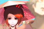 1girl 2boys blurry brown_hair depth_of_field face fuu glasses highres japanese_clothes jinnosuke looking_at_viewer mugen multiple_boys questpowers samurai_champloo smile solo_focus umbrella