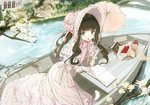 1girl :d bangs basket blunt_bangs blurry blurry_foreground blush boat bonnet book bottle bow bridge brown_hair building commentary_request day depth_of_field dress eyebrows_visible_through_hair flower food frilled_gloves frilled_hat frilled_umbrella frills fruit gloves green_eyes hat holding holding_umbrella lolita_fashion long_hair looking_at_viewer magnolia mullpull oar open_book open_mouth original outdoors pink_bow pink_dress pink_hat pink_umbrella puffy_short_sleeves puffy_sleeves red_flower red_rose river rose short_sleeves sidelocks smile solo strawberry tree tree_branch twintails umbrella victorian water watercraft white_dress white_flower white_gloves