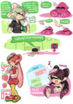 +_+ :p aori_(splatoon) bent_over black_hair black_shirt black_shorts brown_eyes casual cellphone closed_eyes comic cousins detached_collar domino_mask dress e-liter_3k_(splatoon) earrings eating english fangs food food_on_head fruit fume gloves grey_hair holding holding_cellphone holding_food holding_phone holding_weapon hotaru_(splatoon) ice_cream_cone jewelry kneeling long_hair mask mole mole_under_eye musical_note object_on_head open_mouth phone pink_dress pointy_ears pout quaver shirt short_hair short_sleeves shorts smartphone smile splatoon squid standing strapless strawberry t-shirt tentacle_hair tongue tongue_out weapon white_gloves wong_ying_chee