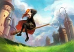 1girl arm_up ask_(askzy) bad_id bad_pixiv_id black_legwear broom broom_riding brown_eyes castle cloud crossed_legs day flying ginny_weasley grass harry_potter highres loafers long_hair miniskirt necktie one_eye_closed orange_hair outdoors pantyhose quidditch red_hair school_uniform shading_eyes shoes sidesaddle sitting skirt sky solo