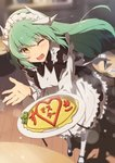 1girl absurdres alternate_costume apron black_dress black_footwear dragon_girl dragon_horns dress enmaided eyebrows_visible_through_hair fang fate/grand_order fate_(series) food green_hair highres horns indoors kiyohime_(fate/grand_order) long_hair looking_at_viewer maid maid_apron maid_headdress omelet omurice one_eye_closed open_mouth solo table white_apron white_legwear wooden_floor xkirara39x yellow_eyes