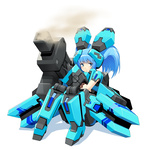 1girl blue_eyes blue_hair cosmic_break gun lily_rain mecha_musume sitting solo twintails wakaba weapon