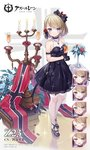 1girl :d anchor_symbol arm_garter azur_lane bangs bare_shoulders black_bow black_dress black_footwear black_gloves black_ribbon blue_eyes blush bow breasts brown_hair burning candelabra candle champagne_flute chestnut_mouth closed_eyes closed_mouth commentary_request copyright_name cup dress drink drinking_glass expressions eyebrows_visible_through_hair fire flower garter_straps gloves hair_bow hair_flower hair_ornament hair_ribbon half_gloves holding holding_cup hurricane_glass iron_cross kaede_(003591163) medium_breasts nose_blush official_art open_mouth parted_lips pleated_dress red_flower red_rose ribbon rose see-through shoes short_hair sleeveless sleeveless_dress smile sparkle standing sweat thighhighs vase white_flower white_legwear white_rose z23_(azur_lane)