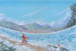 1girl acrylic_paint_(medium) blue_sky boots child coat commentary day dress fisheye forest ice mountain nature original outdoors red_scarf river running scarf shiraishi_takashi sky snow snowman solo town traditional_media winter winter_clothes winter_coat woollen_cap