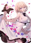 1girl absurdres alternate_costume bare_shoulders black_ribbon blonde_hair blue_eyes blue_flower braid breasts casual commentary_request contemporary cowboy_shot dress eyebrows_visible_through_hair fate/grand_order fate_(series) flower hair_ribbon highres jeanne_d'arc_(fate) jeanne_d'arc_(fate)_(all) large_breasts leaning_forward lifted_by_self long_braid long_hair looking_at_viewer open_mouth petals red_flower ribbon shinooji single_braid sleeveless sleeveless_dress solo very_long_hair white_dress white_flower