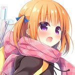 1girl :d blue_ribbon blush brown_hoodie commentary_request drawstring fringe_trim hair_ribbon hanamiya_natsuka hood hood_down hoodie looking_away open_mouth orange_hair original pink_scarf purple_eyes ribbon scarf simple_background smile solo two_side_up upper_body white_background