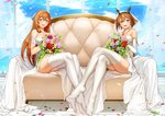 2girls armlet bangs blush bouquet breasts bridal_veil brown_hair commentary_request commissioner_upload crossed_legs crossover dress eyebrows_visible_through_hair flower full_body girls_frontline green_eyes hair_between_eyes hair_ribbon hair_rings headgear heart heart_necklace holding holding_bouquet jai_(whany1998) kantai_collection korean_commentary large_breasts legs_together light_particles long_hair looking_at_viewer m1903_springfield_(girls_frontline) multiple_girls mutsu_(kantai_collection) no_shoes off-shoulder_dress off_shoulder open_mouth petals pink_flower pink_rose red_flower red_rose ribbon rose short_hair sidelocks sitting smile veil wedding_dress white_legwear yellow_flower yellow_rose