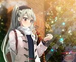 1girl alternate_costume amatsukaze_(kantai_collection) arm_behind_back bag bangs bauble belt belt_buckle black_hat blue_sweater blush brick_wall brown_eyes buckle building christmas_ornaments christmas_tree coat commentary_request earrings eyelashes fedora green_hair handbag hat jewelry kantai_collection long_hair long_sleeves open_clothes open_coat outdoors over_shoulder scarf snowflakes solo sweater twintails upper_body watch white_coat white_scarf winter wristwatch yahako