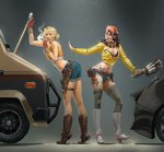 2girls absurdres black_bra black_hair blonde_hair boots bra brown_footwear car cidney_aurum cigarette commentary cosplay costume_switch crop_top crossover denim denim_shorts devil_may_cry devil_may_cry_5 final_fantasy final_fantasy_xv freckles glasses goggles goggles_around_neck grey_background ground_vehicle hat high_heel_boots high_heels highres knee_boots lace lace-trimmed_bra leaning_forward motor_vehicle multiple_girls nico_(devil_may_cry) short_shorts shorts sleeveless smile smoke smoking tattoo thighhighs thong trait_connection underwear white_footwear zededge