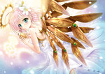1girl angel apple back bare_shoulders blue_eyes blush dress flower food fruit gold hair_flower hair_ornament halo mechanical_wings original pink_hair short_hair solo wings