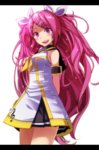 1girl absurdres commentary dress hair_ribbon headphones highres long_hair looking_at_viewer megurine_luka open_mouth pink_eyes pink_hair project_diva_(series) ribbon rin-chan_now!_(vocaloid) skirt sleeveless tsukishiro_saika vocaloid