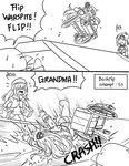 2koma 3girls =_= >_< ark_royal_(kantai_collection) beret bird character_name comic commentary crash crown english failure first_aid_kit greyscale guin_guin hat jervis_(kantai_collection) kantai_collection long_hair mini_crown monochrome multiple_girls non-human_admiral_(kantai_collection) open_mouth penguin running short_hair warspite_(kantai_collection) wcmx wheelchair