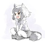1girl :d animal_ears black_neckwear bow bowtie brown_eyes commentary common_raccoon_(kemono_friends) crossed_legs fang full_body fur_collar grey_hair indian_style kemono_friends looking_away medium_hair multicolored_hair open_mouth pantyhose panzuban puffy_short_sleeves puffy_sleeves raccoon_ears raccoon_tail short_sleeves simple_background sitting skirt smile solo tail two-tone_hair white_hair