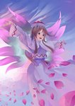 1girl artist_name bangs blue_background brown_eyes brown_hair capelet cherry_blossoms collared_capelet commentary dated dress fairy fairy_wings floating_hair flying hat highres lily_white long_hair looking_to_the_side multicolored multicolored_background open_mouth outstretched_arms petals red_ribbon ribbon riki6 smile solo spread_arms touhou white_capelet white_dress white_headwear wide_sleeves wing_collar wings