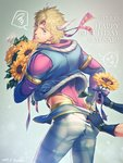 1boy battle_tendency blonde_hair blue_eyes bouquet caesar_anthonio_zeppeli facial_mark feathers fingerless_gloves flower gloves hair_feathers happy_birthday headband jojo_no_kimyou_na_bouken joseph_joestar_(young) kuren leotard male_focus pants_pull ribbon solo_focus spoken_squiggle squiggle sunflower