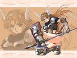 1girl 90s armored_boots blonde_hair blue_eyes boots breastplate gauntlets head_wings holding_halberd holding_polearm holding_shield long_hair open_mouth pauldrons sheath sheathed shield solo squatting sword thighhighs weapon yoshizane_akihiro zoom_layer