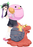 1girl backpack bag bakemonogatari black_hair crossover fire hachikuji_mayoi hairband long_hair magcargo monogatari_(series) multiple_girls pokemon red_eyes snail twintails yamae_saki