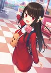 1girl :d backpack bag bangs black_hair blue_sky blurry blurry_background blush breasts checkered cloud collared_shirt commentary_request day depth_of_field dress dress_shirt dutch_angle eyebrows_visible_through_hair ferris_wheel hair_ornament haniwa_(statue) highres long_hair long_sleeves looking_at_viewer open_mouth original outdoors outstretched_arm pointing red_dress red_eyes shirt sidelocks sky small_breasts smile solo standing tsuchikure very_long_hair white_shirt