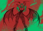 1girl animal_print ass_visible_through_thighs bat_print breasts demon_girl elbow_gloves feet_out_of_frame from_below gloves green hands_up head_wings heart_cutout highres large_breasts leotard limited_palette long_hair looking_at_viewer low_wings morrigan_aensland pantyhose parted_lips print_legwear red simple_background solo spread_wings succubus vampire_(game) white_background wings yang-do