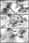 2girls 3koma blush breasts cape cleavage closed_eyes comic commentary detached_sleeves english_commentary fang flat_chest full-face_blush gloves highres jumping katana kiss long_hair magical_girl mahou_shoujo_madoka_magica medium_breasts miki_sayaka monochrome multiple_girls polearm ponytail sakura_kyouko short_hair silent_comic sketch sparklenaut spear surprise_kiss surprised sword thighhighs three_section_staff weapon yuri